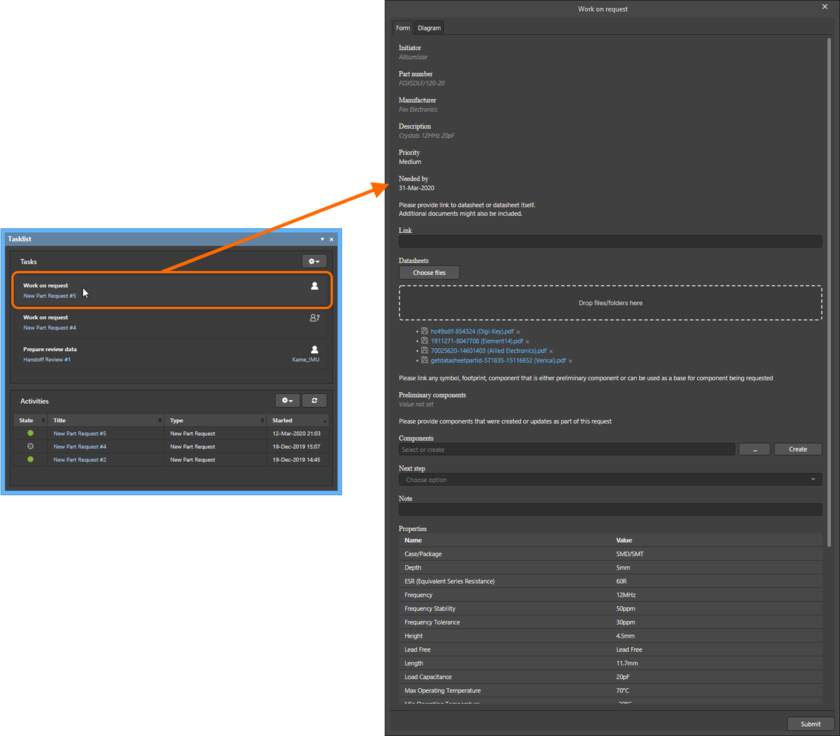 Example form for a user task associated with the default New Part Request process, when accessed from the Tasklist panel in the Altium NEXUS design environment.