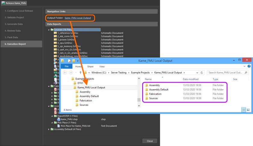 Быстрый переход к локальной папке, непосредственно из этапа Execution Report. Наведите курсор мыши на изображение, чтобы увидеть пример отображения локально выпущенного zip-архива.