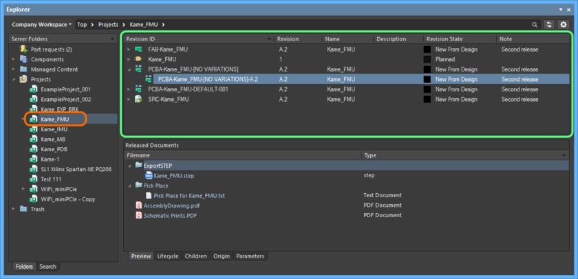 Просмотр выпущенных данных проекта на сервере управляемых данных в панели Explorer.