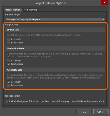 Назначьте файлы OutJob соответствующим наборам данных.