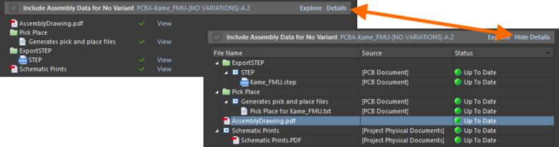 Нажмите Details, чтобы переключить простой вид отображения сформированных данных на подробный. Чтобы переключиться обратно, нажмите Hide Details.