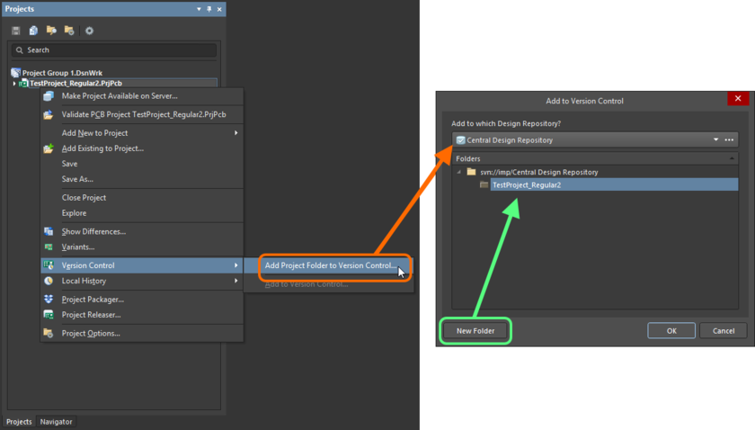 Adding a Local design project to a design repository available through a managed content server.