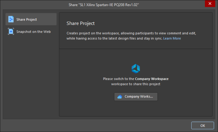The Share dialog when attempting to share an open project that is not registered with a Workspace