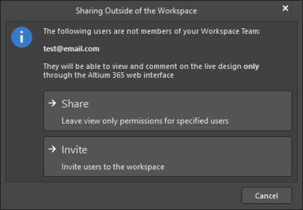 TheSharing Project Outside of the Workspace dialog