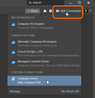 Signing in to your Concord Pro instance from within Altium  Designer, when that server is already known.