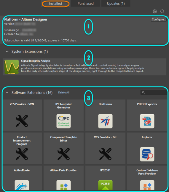 Access the Installed page of the view for a summary of what's currently installed in your instance of Altium Designer.