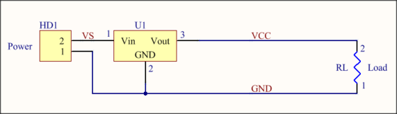 A base circuit example of a power source and load.