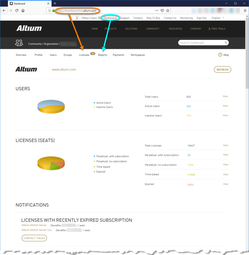 Use the Dashboard to manage your account with Altium including, most importantly, your product licensing.