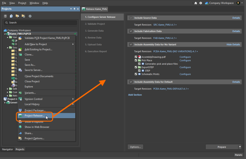 The Release view - the user interface to the Project Releaser.