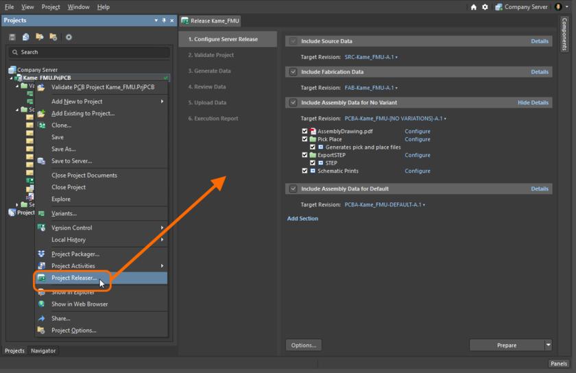 Страница Release – интерфейс средства выпуска Project Releaser. Наведите курсор мыши на изображение, чтобы увидеть, как выглядит интерфейс, если вы запустили процесс выпуска и последующей публикации в инстанцию PLM.