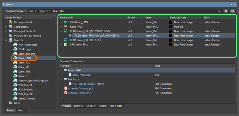 Viewing the released data for the project, directly in the managed content server, courtesy of the Explorer panel.