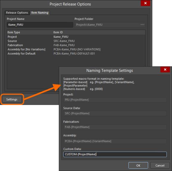 Задайте целевую папку и именование формируемых объектов на сервере управляемых данных. Здесь поля не доступны для редактирования, поскольку проект был выпущен ранее.