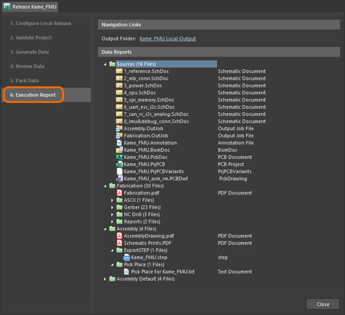 Финальный отчет о выпуске при использовании варианта выпуска Unmanaged - Folder. Наведите курсор мыши на изображение, чтобы увидеть отчет при использовании варианта Unmanaged - Zip.