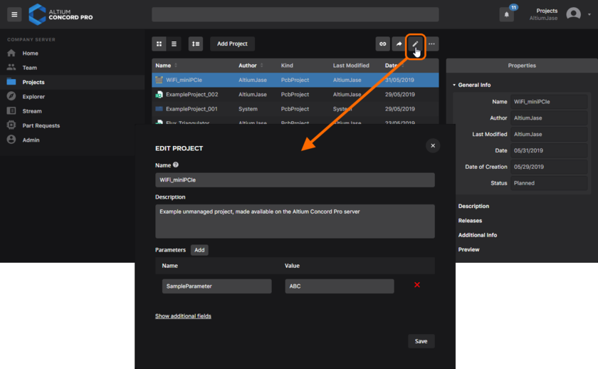You can edit the Name, Description and Parameters for a managed project at any stage.