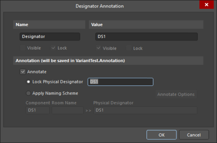 The Designator Annotation dialog also gives access to designator editing and annotation options for variants