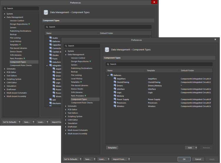 The two iterations of the Data Management - Component Types page of the Preferences dialog; on the left, an iteration in you are signed into an Altium 365 Standard account, and on the right, an iteration in which you are signed in to an Altium 365 Pro account.
