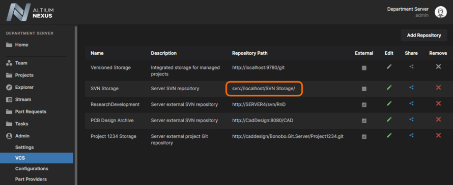 An 'internal' repository created from the NEXUS Server will show its address path relative to the server, which is the localhost address of the host PC.