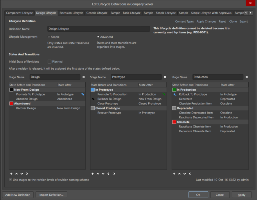 The Design Lifecycle tab of the Edit Lifecycle Definitions dialog