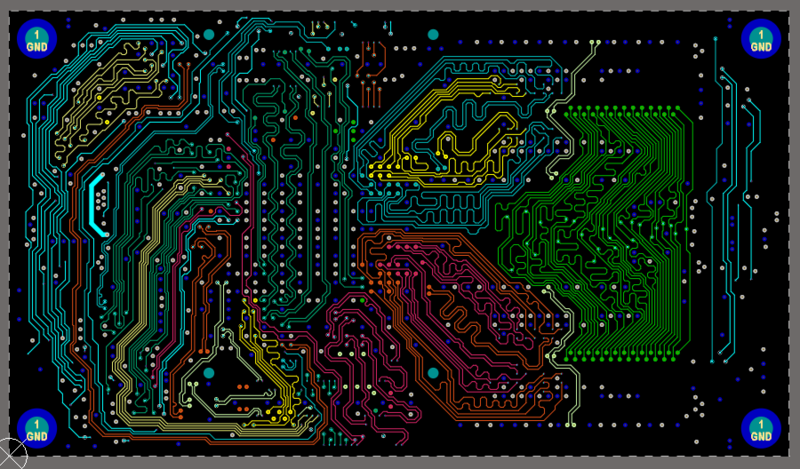 Example of the Net Color Override feature on one layer of a complex board design