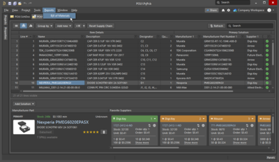 When the project includes a BomDoc, it is used as the source for the Report Manager.