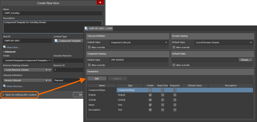 Пример редактирования начальной ревизии объекта шаблона компонентов непосредственно с сервера управляемых данных. Временный редактор шаблонов компонентов предлагает документ для определения шаблона компонентов.