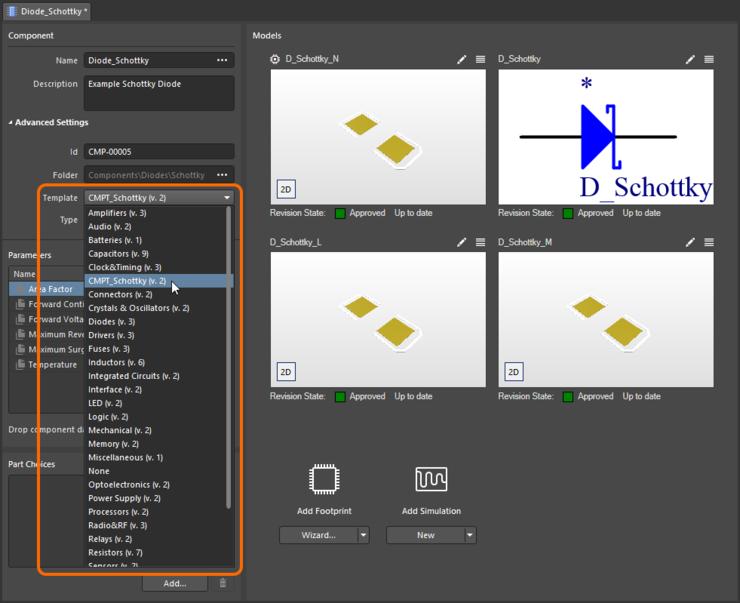 Быстрая привязка объекта шаблона компонентов из меню всех доступных шаблонов при редактировании ревизии объекта компонентов с помощью редактора Component Editor в режиме Single Component Editing.