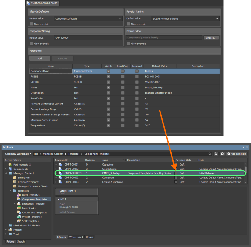 Пример определенного шаблона компонентов, выпущенного на сервер.