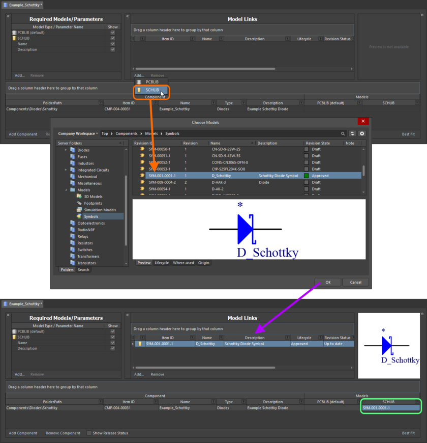 Пример создания ссылки на ревизию объекта символа в качестве ссылки на модель при прямом редактировании ревизии объекта Component Item (управляемого компонента) с помощью редактора Component Editor в режиме Batch Component Editing.