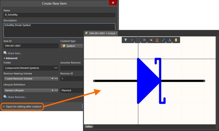 Пример редактирования начальной ревизии объекта символа непосредственно с сервера управляемых данных. Временный редактор схемных библиотек предлагает документ для определения схемного символа.