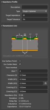 Калькулятор импедансов определяет свойства и зазоры сигналов (первое изображение). Используйте этот зазор в настройке расстояния экранирования с помощью переходных отверстий.