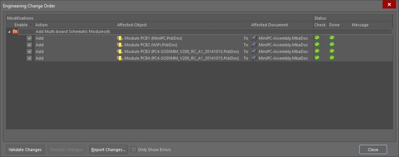 Плата из каждого дочернего проекта приводится в списке изменений ECO, и они загружаются в редактор Multi-board после исполнения ECO