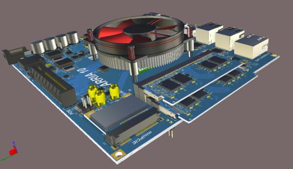 Главная плата с двумя модулями памяти и WiFi-модулем PCIe.