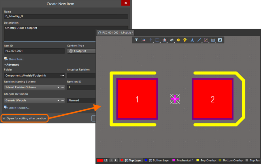 Example of editing the initial revision of a Footprint Item, directly from the managed content server - the temporary PCB Library Editor provides the document with which to define your PCB 2D/3D component model.
