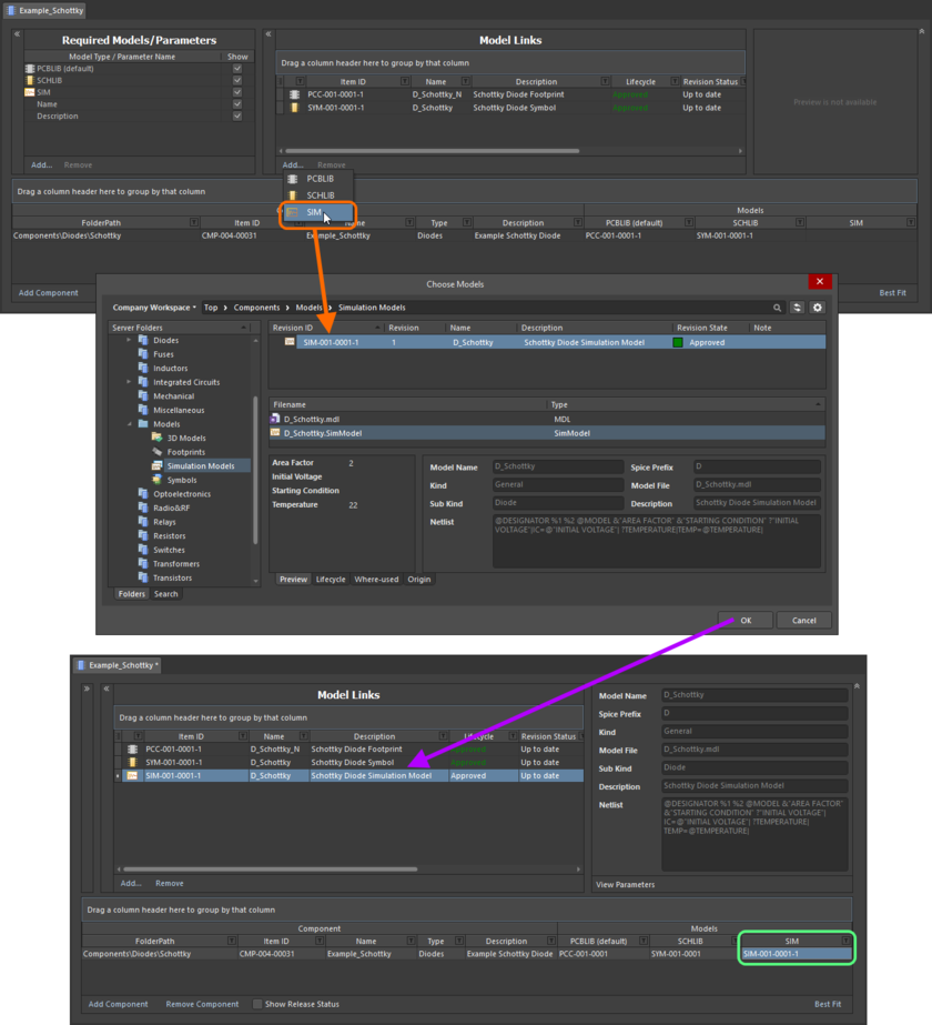 Example of referencing a revision of a Simulation Model Item as a model link, when direct editing a revision of a Component Item (managed component) using the Component Editor in its Batch Component Editing mode.