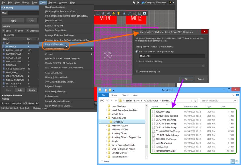 Пример файлов 3D-моделей, сформированных из библиотеки посадочных мест с помощью средства извлечения.