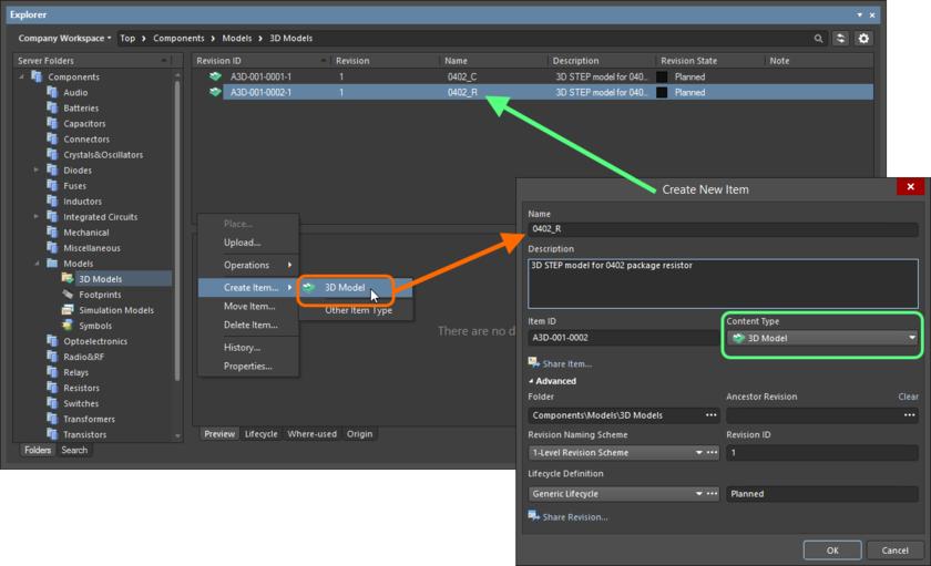 Создание объекта 3D-модели в папке 3D Models. Нужный тип содержимого (Content Type) доступен в контекстном меню.
