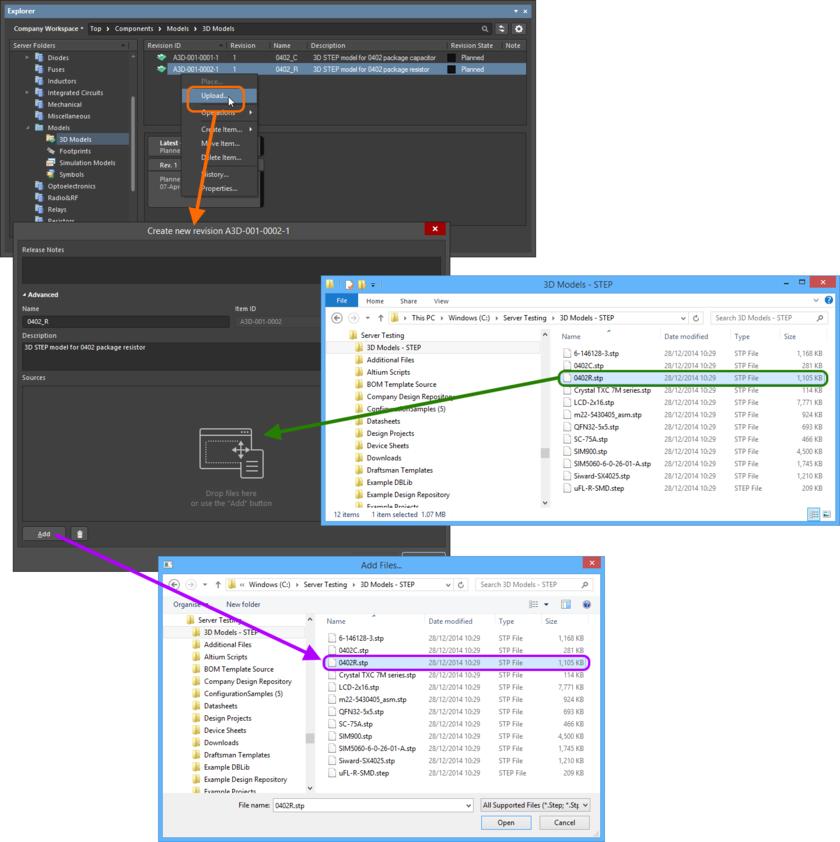 Ручное указание файла 3D-модели для выгрузки в целевой объект 3D-модели.