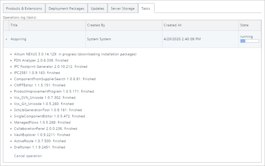The Tasks tab of the NIS interface is where you can view a task that is currently running, or tasks that have been run – an operational log as it were. Hover over the image to  see the task run to completion. Notice that in this example where a single product was chosen for acquisition, all extensions related to that version of the product, and  that are installed by default when that product itself is installed, are also acquired.