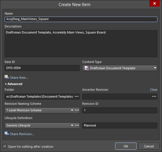 Укажите подробную информацию о новом объекте в диалоговом окне Create New Item.