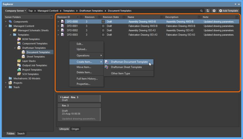 Щелкните ПКМ в области Item панели Explorer, чтобы открыть команды, относящиеся к созданию объектов.