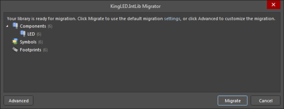 The Library Migrator when accessed in its Simple one-click migration mode.