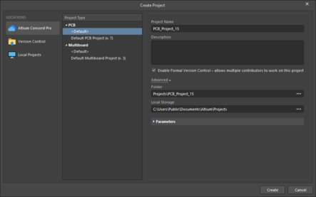 The Create Project dialog when not signed in on the left and when signed in to a managed content server on the right.