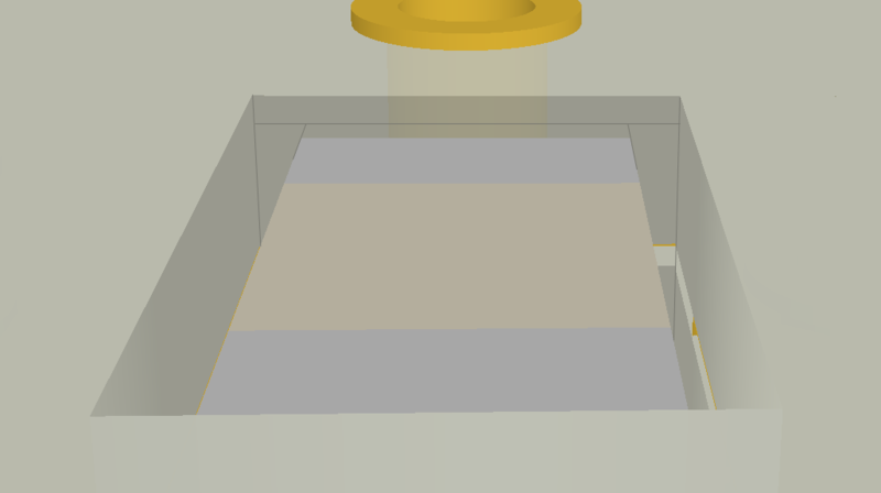 Transparent 3D image of a PCB showing an embedded component whose cavity is open to the surface of the board