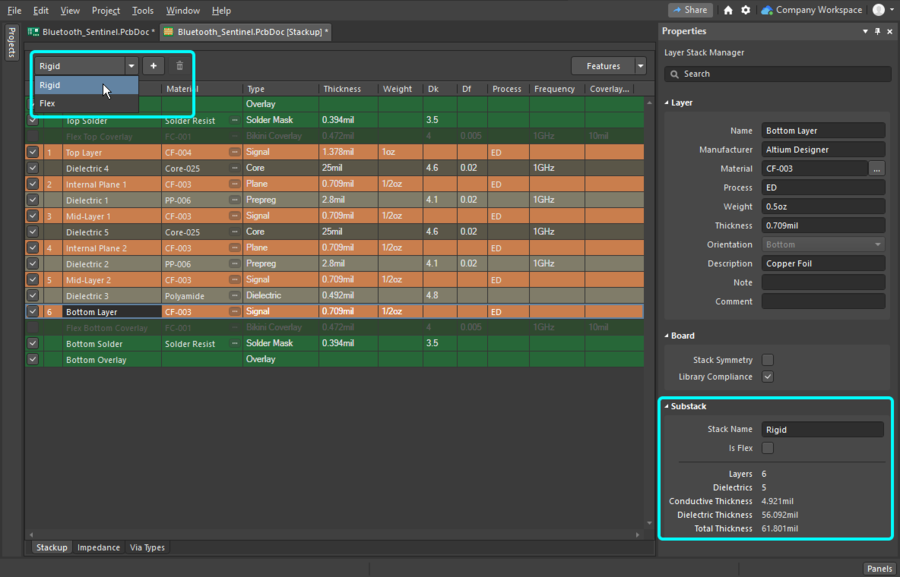 Hover image showing how to switch between the rigid and flex substacks, in the Layer Stack Manager