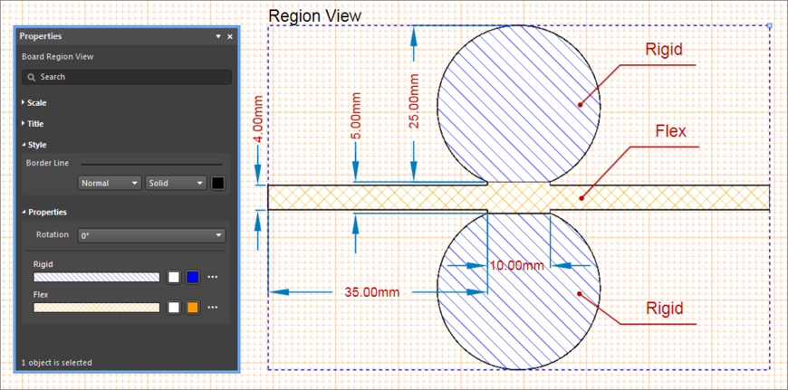 Example Board Region View, showing how the PCB Layer Stack Regions can be displayed on the drawing