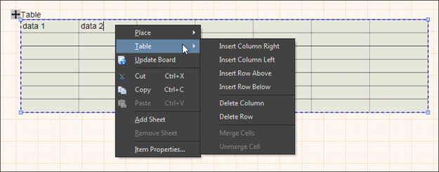 Example, showing how to add/remove columns and rows from a Table