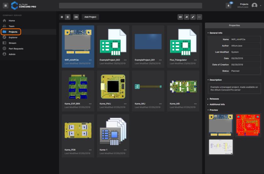 Централизованное управление проектами в рамках установки Altium Concord Pro.