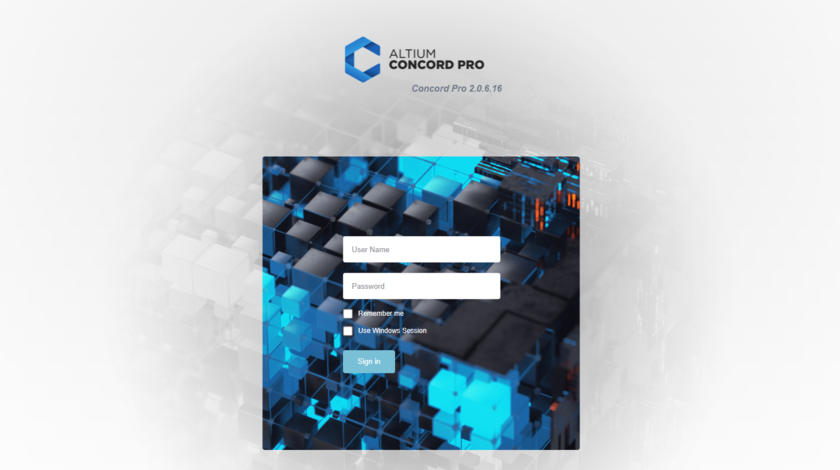 Access Altium Concord Pro, and its associated platform services, through a preferred external Web browser. Roll the mouse over the image to see the effect of successfully signing in to the interface.
