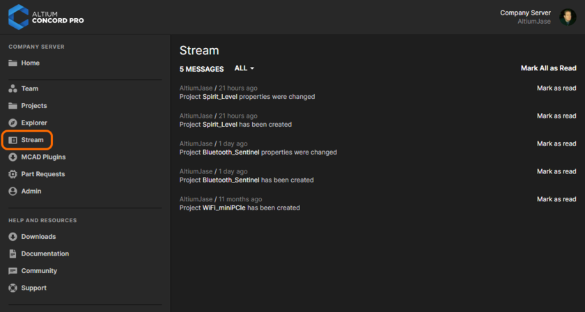Example content for a user on their Stream page.