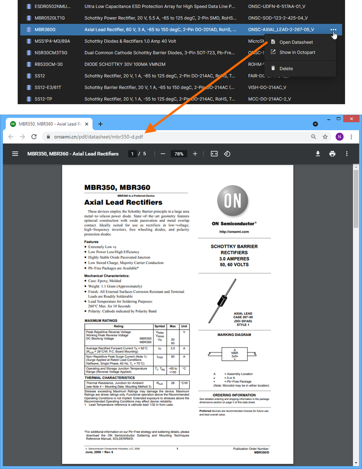 Quickly access the manufacturer datasheet for the selected component, which opens on a separate browser tab.